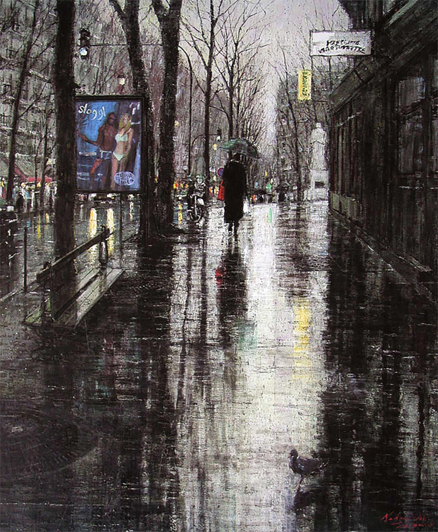 中西繁 雨の歩道