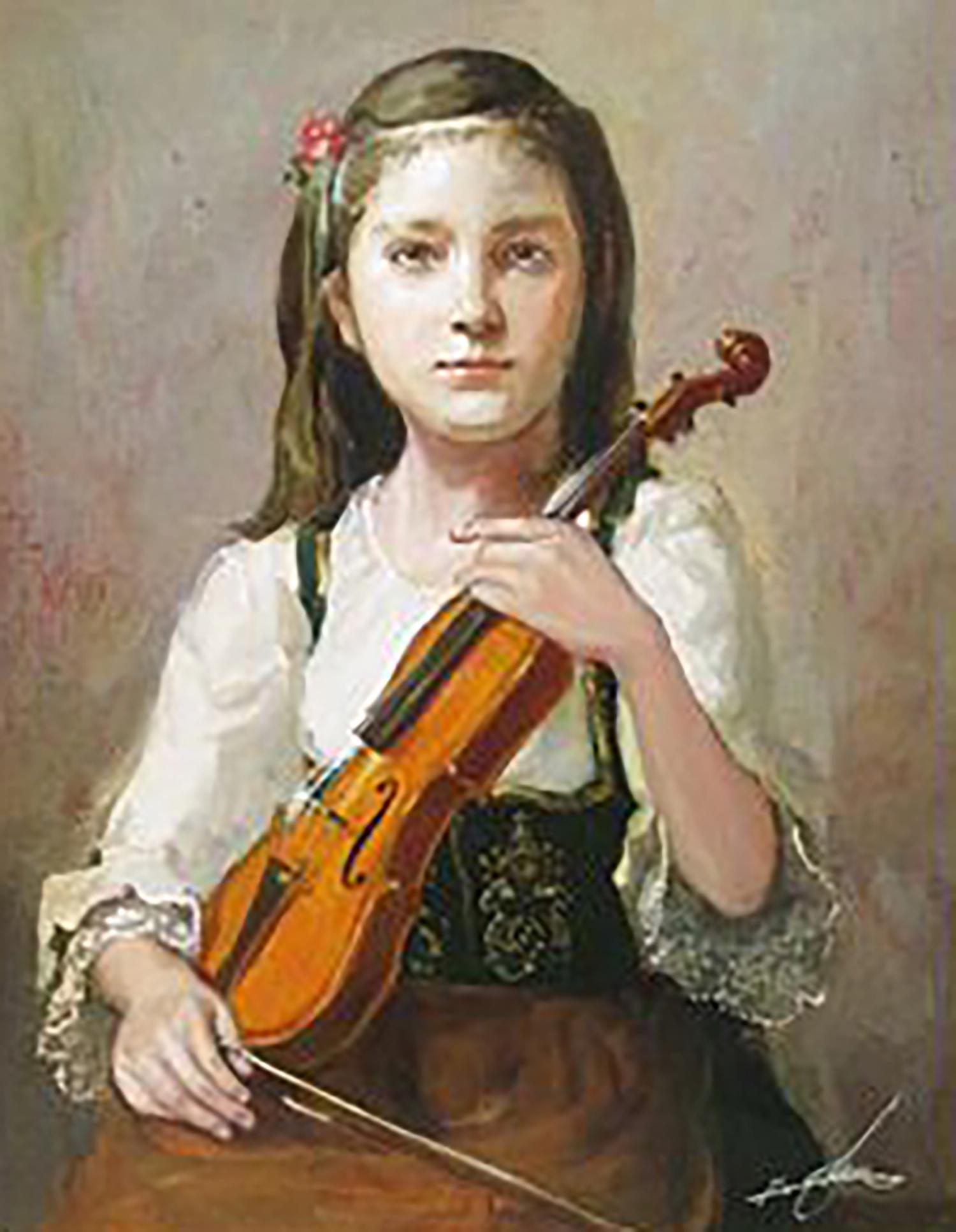 奥龍之介 バイオリンを抱く少女