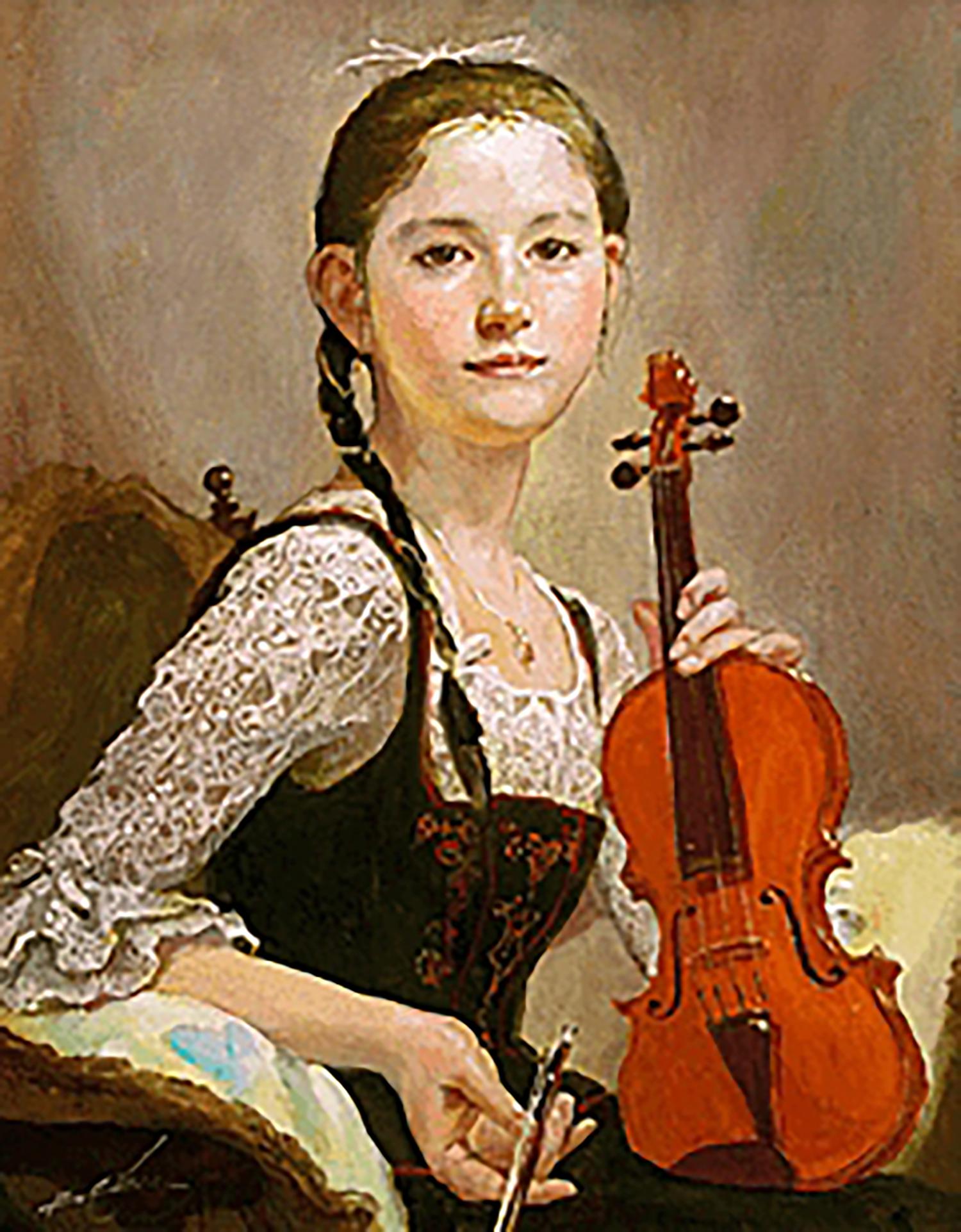 奥龍之介 バイオリンを持つ少女