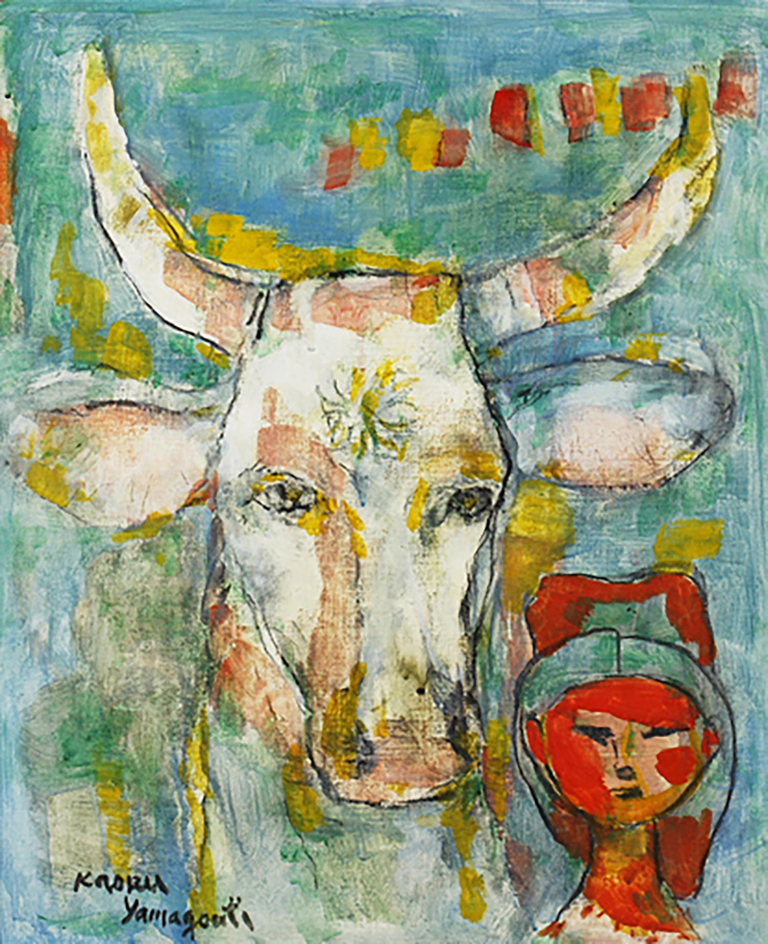 山口薫 牛と少女